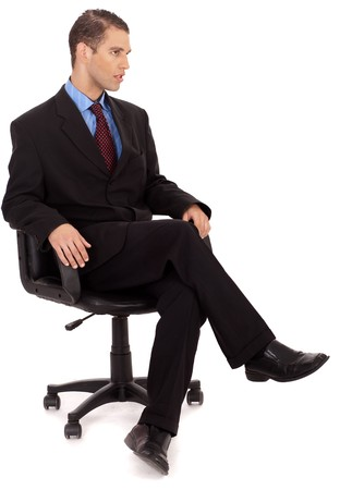 young professional sitting in the wheel chair on a white background Stock Photo - 6955723