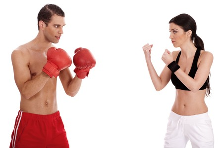 Young boxers training over white background Stock Photo - 6955725