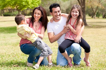 Happy family enjoying in the park,outdoor photo