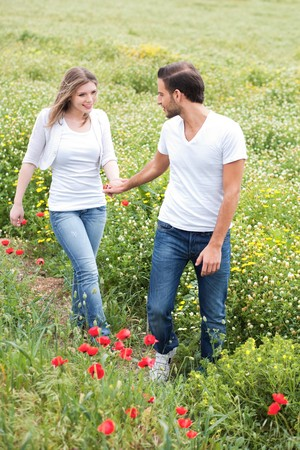 Couple in the park walking in the path way Stock Photo - 6956694