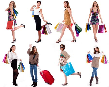 group of happy womans smiling and carrying shopping bags on isolated white background photo