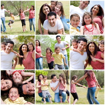 women having fun: Happy family enjoying in the park,outdoor