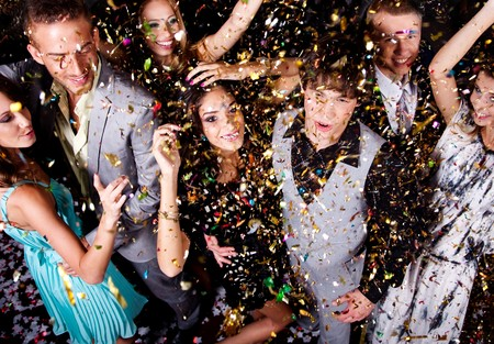 newyear night: Group of people dance at night club