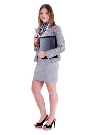 Charming business woman standing and holding her office file over white background Stock Photo - 7261641