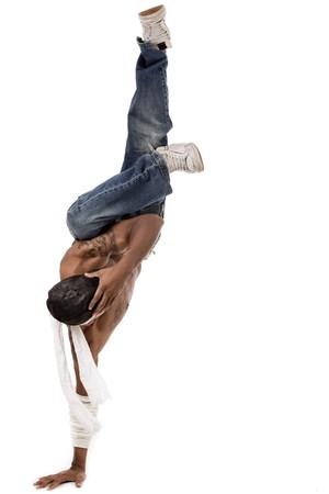 baile hip hop: Uno entreg� baile de hip-hop sobre un fondo blanco
