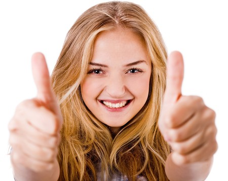 thumbs up woman: Closeup of women showing thumbs up in both hands on a isolated white background