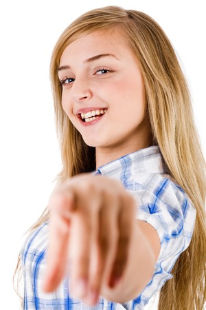 Women smiling and pointing at the camera on a isolated white background photo