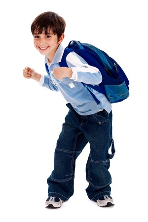 school bag: Adorable young kid ready for school with his bag on isolated white background