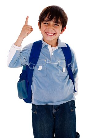 full uniform: Happy school boy pointing upwards isolated on white background Stock Photo
