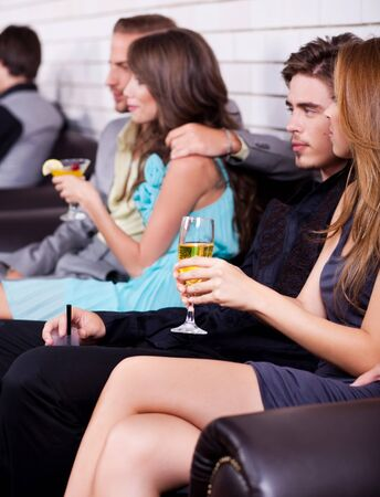 group of people at party have fun and talk each other photo
