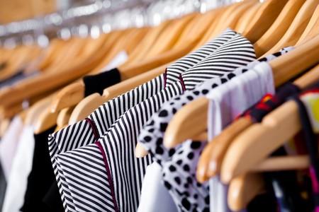 boutiques: Multi-coloured wardrobe showcase, for sale, closeup view