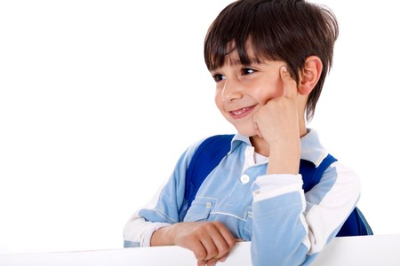 looking sideways: Cute kid thinking and looking sideways on isolated white background