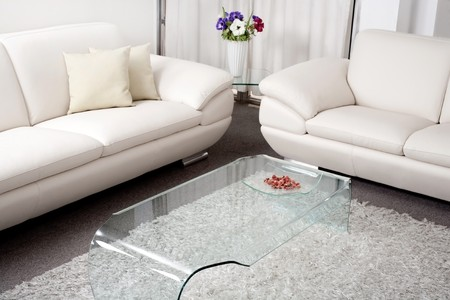 Modern white leather couch in living room photo
