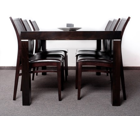 Modern wooden finished dining table with six chair set Stock Photo - 7673534