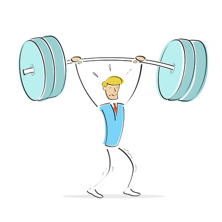 illustration of vector body builder while lifting weights on an isolated background illustration