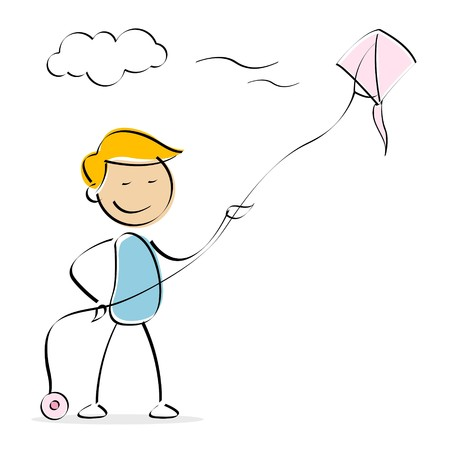 illustration of vector kid flying kite in sky in an isolated background illustration