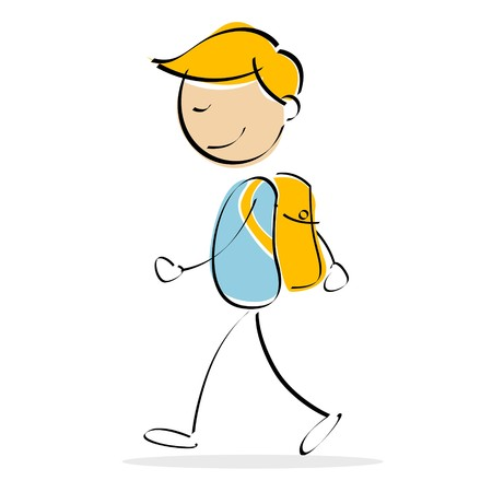 illustration of vector kid walking while carrying school bag