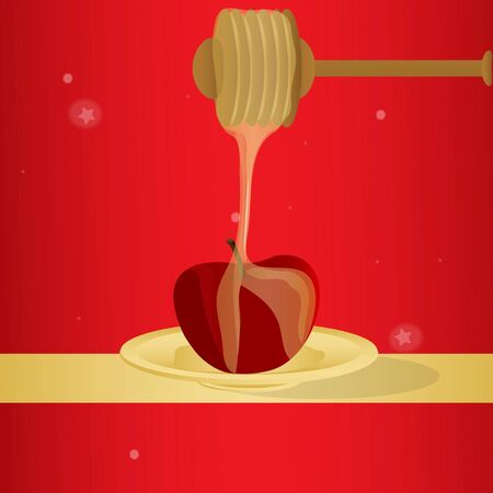 dipping: illustration of vector honey dipping on apple symbolising Rosh Hashanah Stock Photo