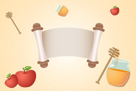 apple and honey: illustration of vector template template with honey and apple
