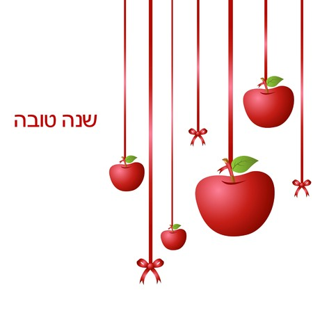 Illustration de la pendaison de pommes avec ruban sur isol�s background symbolisant Rosh Hashana. Banque d'images
