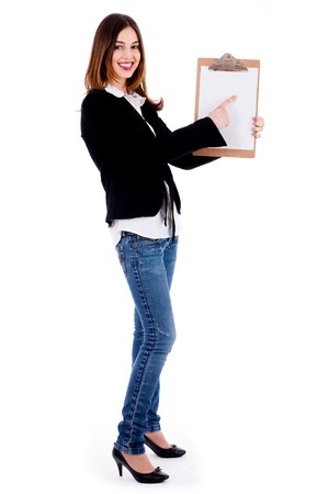 Business women pointing on a blank clip board on isolated background photo