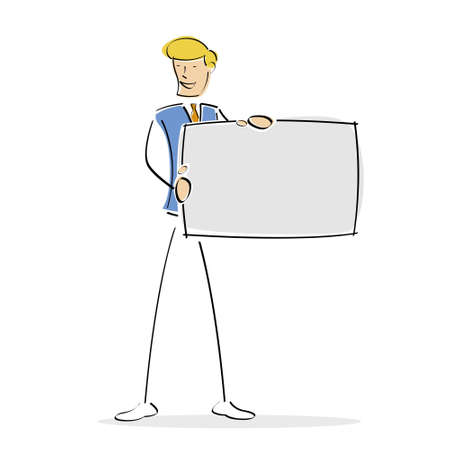 displaying: illustration of  male displaying blank board Stock Photo
