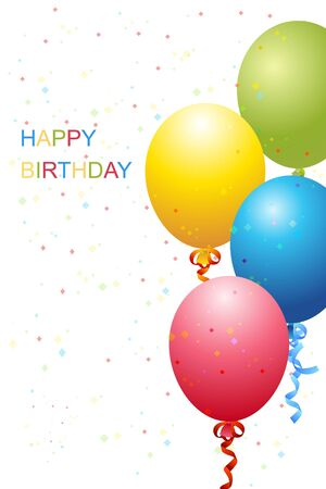 float fun: illustration of  birthday template with balloons and glitters