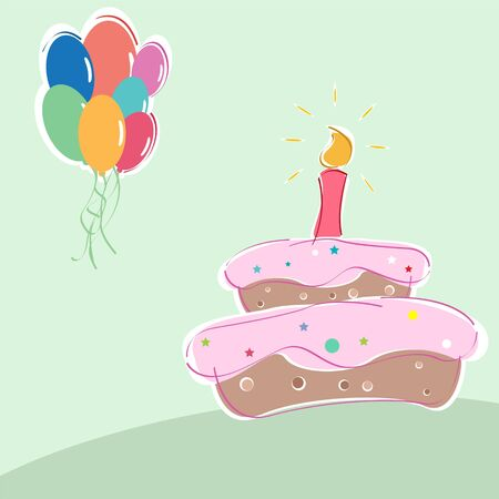 illustration of   birthday with cakes candles and balloons Stock Illustration - 7714821