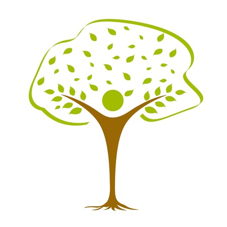 illustration of  icon with tree against white background Stock Photo