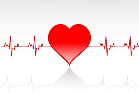illustration of   heart with life line running across illustration