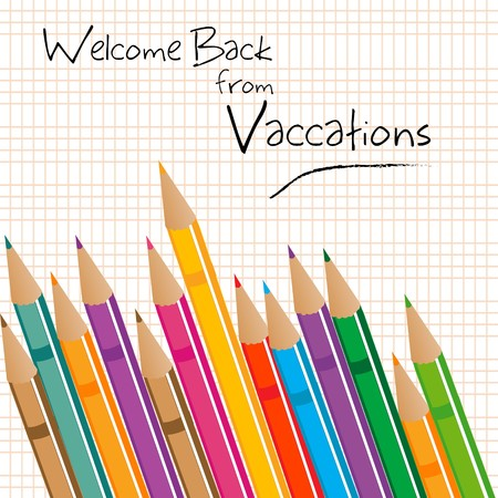 illustration of   welcome back from vacations with colorful pencils illustration