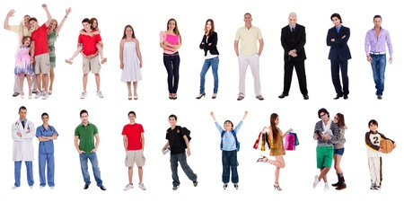 standing in line: Group of many different people on isolated white background