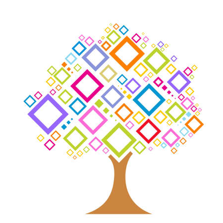 illustration of colorful  tree with square patterns on an isolated background Stock Illustration - 7714917