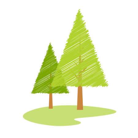 illustration of  tree with sketch effect against an isolated background illustration