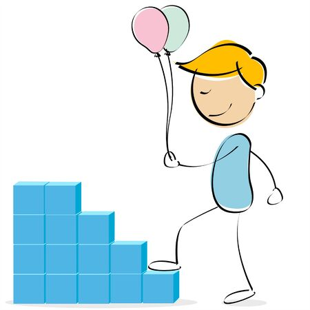 illustration of  kid climbing stacked blocks holding balloons illustration