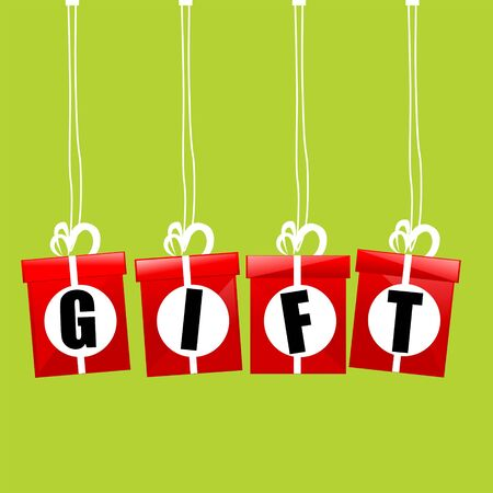 illustration of gift boxes hanging on isolated background illustration