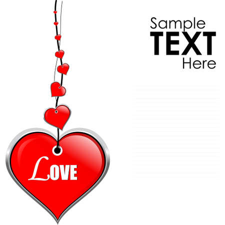 heartily: illustration of hanging   heart accessory on isolated white background with sample text