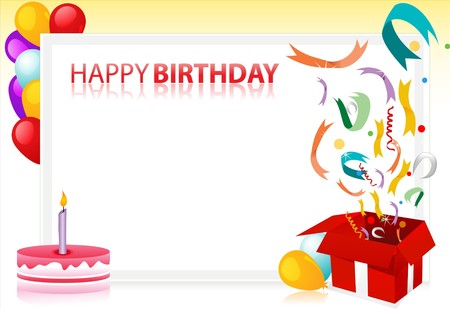 illustration of birthday with balloons and cake and sample text at the back Stock Illustration - 7746263