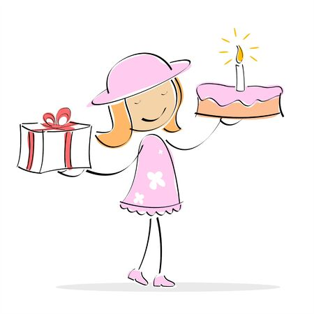 illustration of   girl holding cake and gift box in two hands on an isolated background Stock Illustration - 7781108