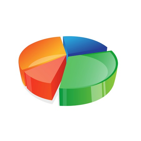 illustration of   pie chart on an isolated background illustration