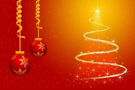 fond d'écran pour Joyeux Noël avec sapin tourbillonnante et boules décoratives Banque d'images - 7781110