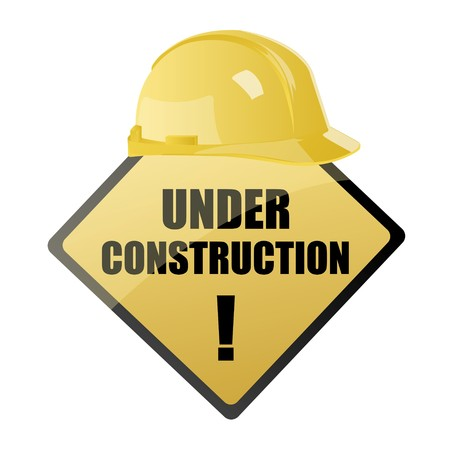 illustration of  under construction board with hardhat on an isolated background Stock Illustration - 7781132