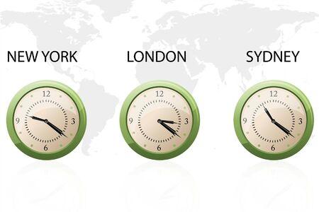 illustration of set of clock showing time of New york, London and Sydney illustration