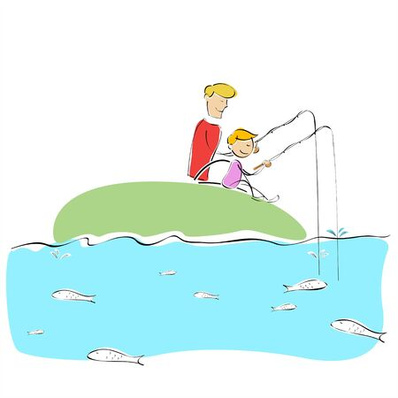 illustration of father and son fishing together illustration