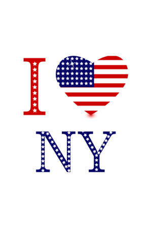 illustration of i love ny with american flag heart on white background Stock Illustration - 7809614
