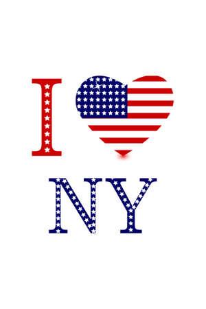ny: illustration of i love ny with american flag heart on white background