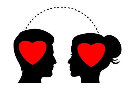 illustration of silhouette of couple thinking about love illustration