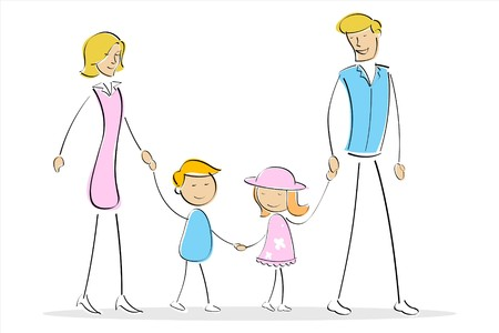 illustration of family standing together on an isolated background Stock Illustration - 7809617