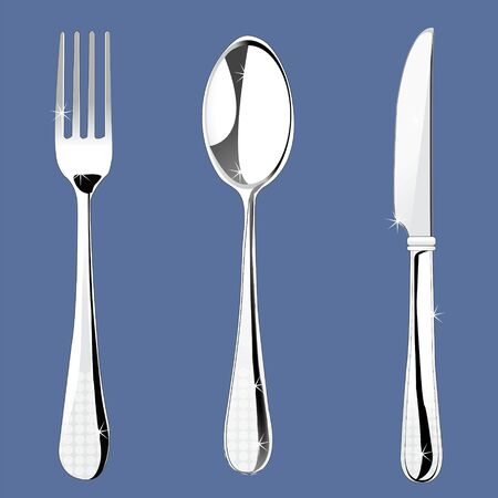 illustration of set of cutlery like fork, spoon and knife illustration