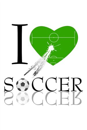 foot ball: illustration of i love soccer with soccer filed in shape of heart and soccer ball Stock Photo